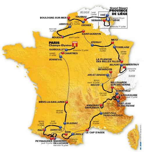 Carte du tour de france 2012